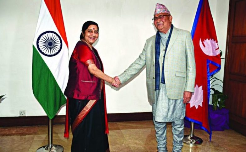 Sushma Swaraj and KP Oli